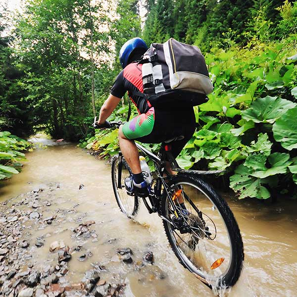Man riding his bike through a creek in the forest.